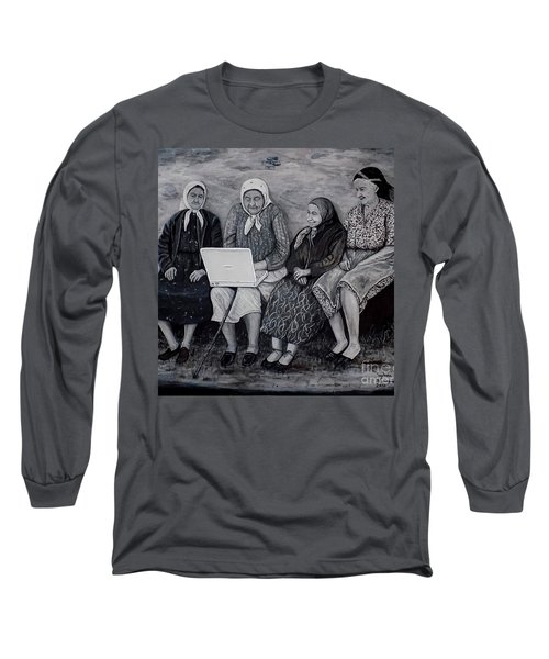Long Sleeve T-Shirt featuring the painting Computer Class by Judy Kirouac