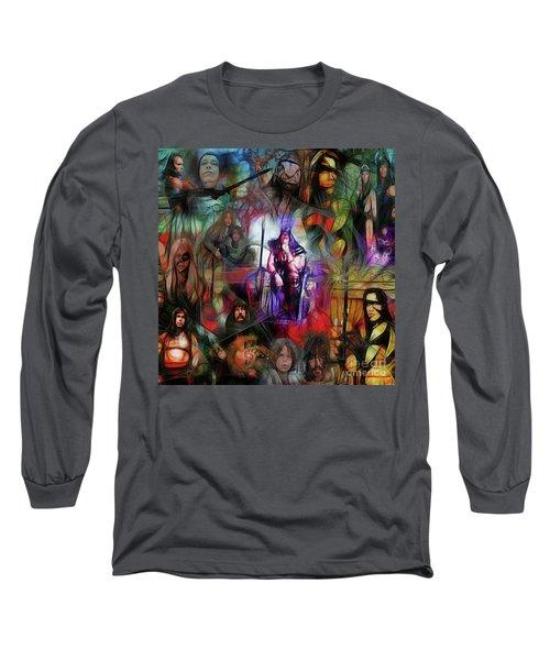 Conan The Barbarian Collage - Square Version Long Sleeve T-Shirt by John Robert Beck