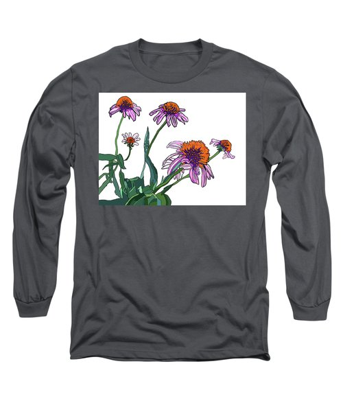Cone Flowers Long Sleeve T-Shirt by Jamie Downs