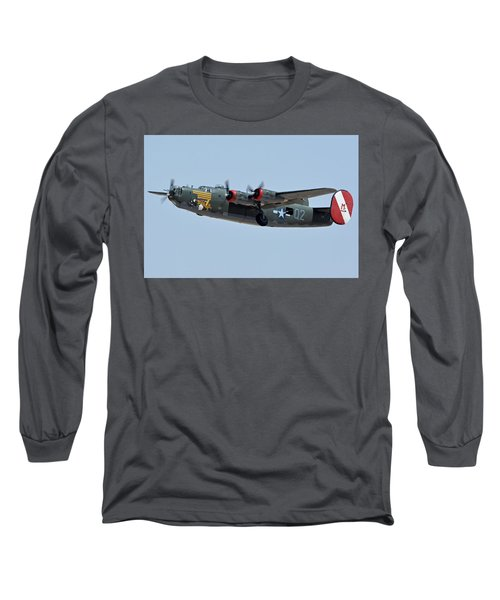 Long Sleeve T-Shirt featuring the photograph Consolidated B-24j Liberator N224j Witchcraft Phoenix-mesa Gateway Airport Arizona April 15 2016 by Brian Lockett