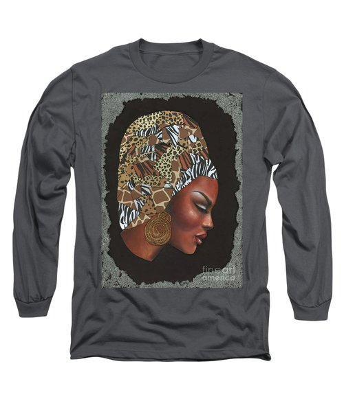 Long Sleeve T-Shirt featuring the mixed media Contemplation Too by Alga Washington