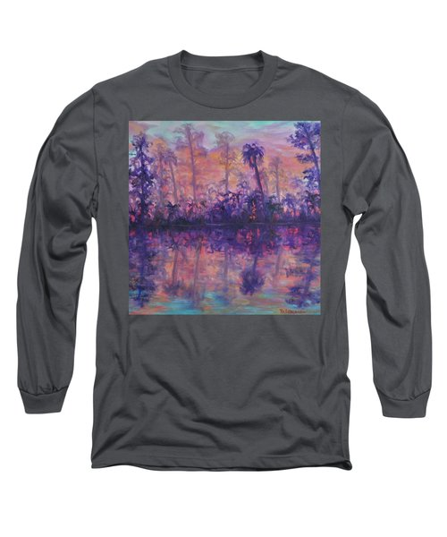 Contemporary Nature Painting Tropical Lake Sunset Long Sleeve T-Shirt