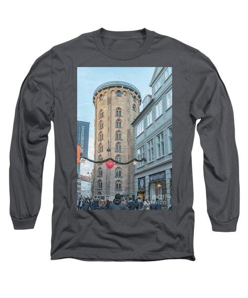 Long Sleeve T-Shirt featuring the photograph Copenhagen Round Tower Street View by Antony McAulay