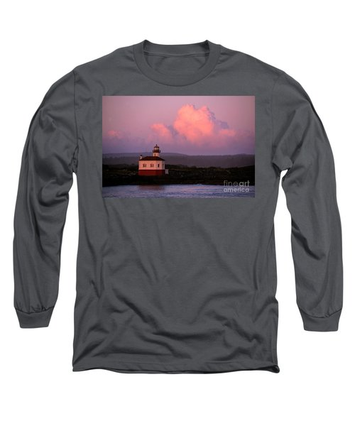Coquille River Lighthouse Sunset Long Sleeve T-Shirt