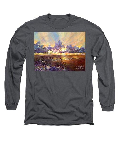Coquina Beach Sunset Long Sleeve T-Shirt by Lou Ann Bagnall