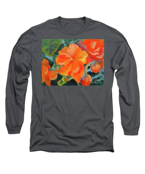 Long Sleeve T-Shirt featuring the painting Coral Begonias by Kathy Braud
