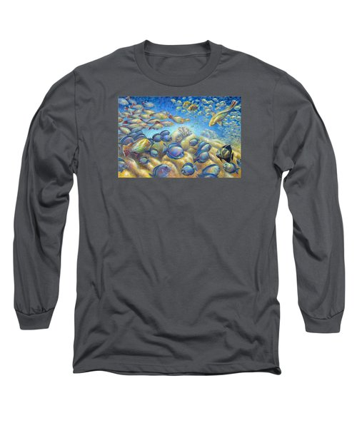 Coral Reef Life Silvers Long Sleeve T-Shirt by Nancy Tilles