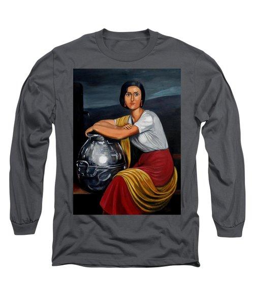 Cordobesa En La Fuente  Long Sleeve T-Shirt by Manuel Sanchez