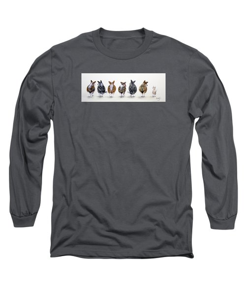 Corgi Butt Lineup With Chihuahua Long Sleeve T-Shirt by Patricia Lintner