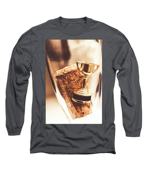 Cork And Trophy Floating In Champagne Flute Long Sleeve T-Shirt