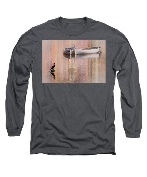 Cormorant And Boats Long Sleeve T-Shirt by Joe Bonita