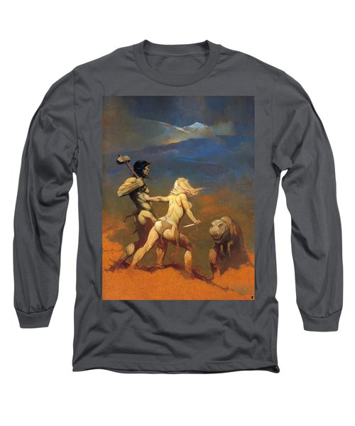 Cornered Long Sleeve T-Shirt by Frank Frazetta