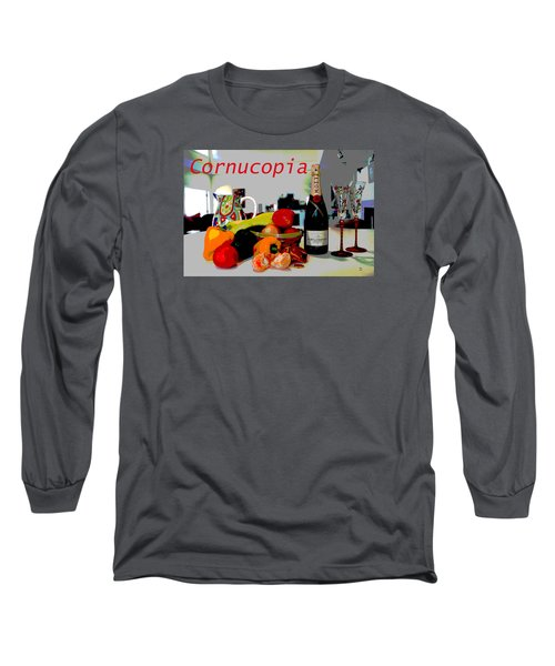Long Sleeve T-Shirt featuring the mixed media Cornucopia by Charles Shoup