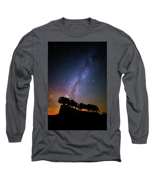 Long Sleeve T-Shirt featuring the photograph Cosmic Caprock Bison by Stephen Stookey