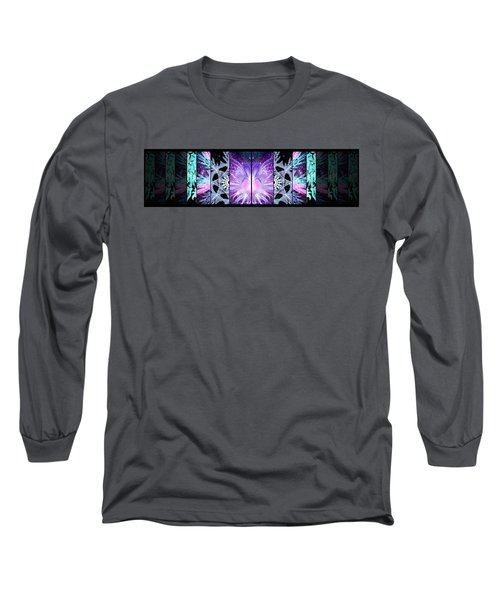 Long Sleeve T-Shirt featuring the mixed media Cosmic Collage Mosaic Left Mirrored by Shawn Dall