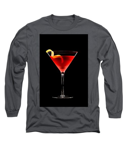 Cosmopolitan Cocktail In Front Of A Black Background  Long Sleeve T-Shirt by Ulrich Schade