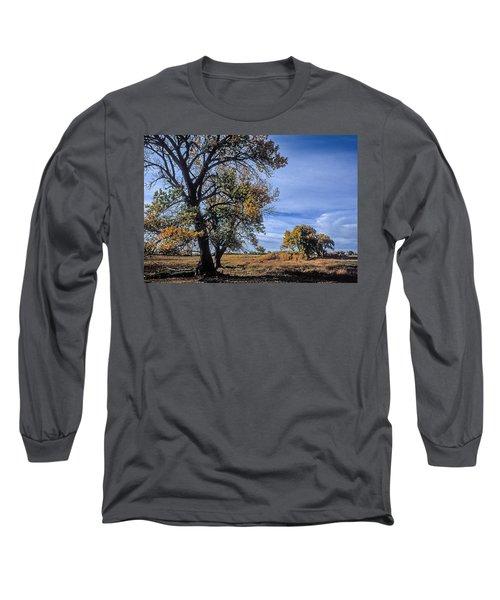 Cottonwood #5 Fall Ranch Colorado Blue Sky Long Sleeve T-Shirt by John Brink