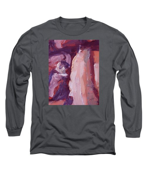 Long Sleeve T-Shirt featuring the painting Couch Abstract In Red And Purple by Nop Briex