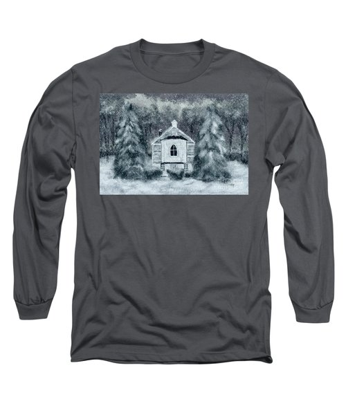 Long Sleeve T-Shirt featuring the digital art Country Church On A Snowy Night by Lois Bryan
