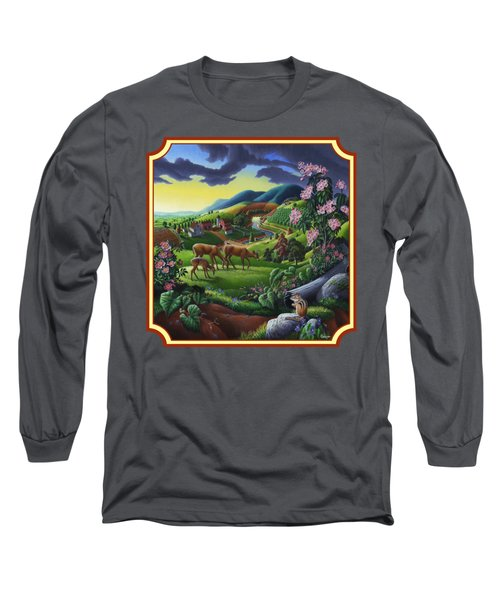 Country Landscape - Deer In The High Meadow - Square Format Long Sleeve T-Shirt