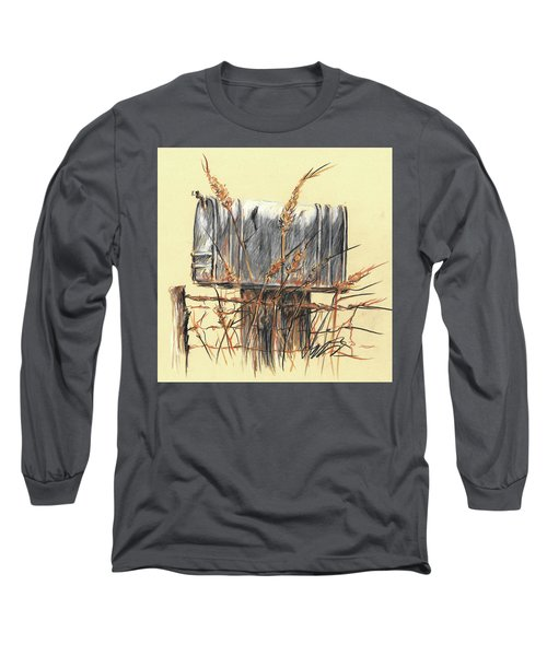 Country Mailbox In Colored Pencil Long Sleeve T-Shirt