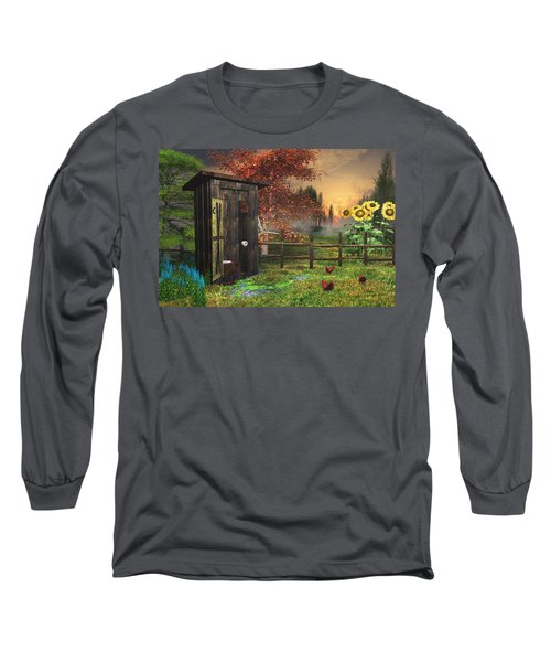 Country Outhouse Long Sleeve T-Shirt by Mary Almond