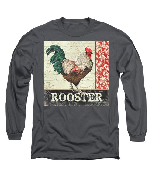 Long Sleeve T-Shirt featuring the painting Country Rooster 1 by Debbie DeWitt