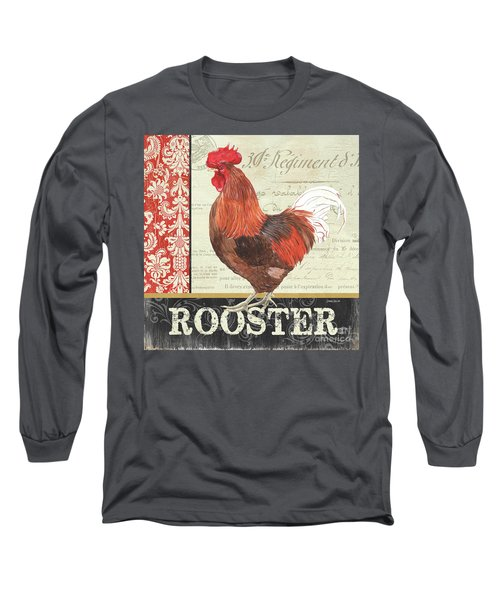 Long Sleeve T-Shirt featuring the painting Country Rooster 2 by Debbie DeWitt
