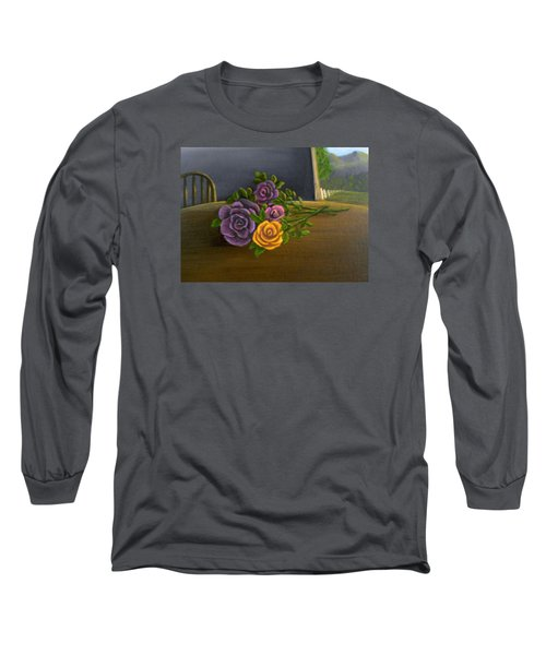 Long Sleeve T-Shirt featuring the painting Country Roses by Sheri Keith