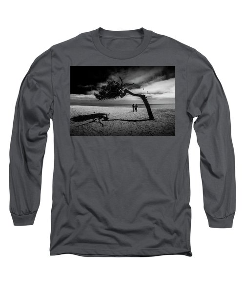 Long Sleeve T-Shirt featuring the photograph Couple On Cabrillo Beach By Los Angeles California by Randall Nyhof