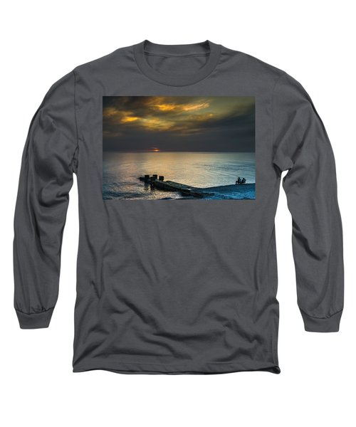 Long Sleeve T-Shirt featuring the photograph Couple Watching Sunset by John Williams