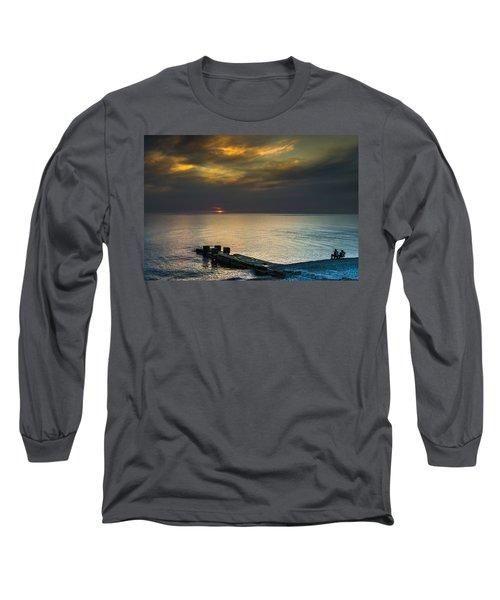 Couple Watching Sunset Long Sleeve T-Shirt by John Williams