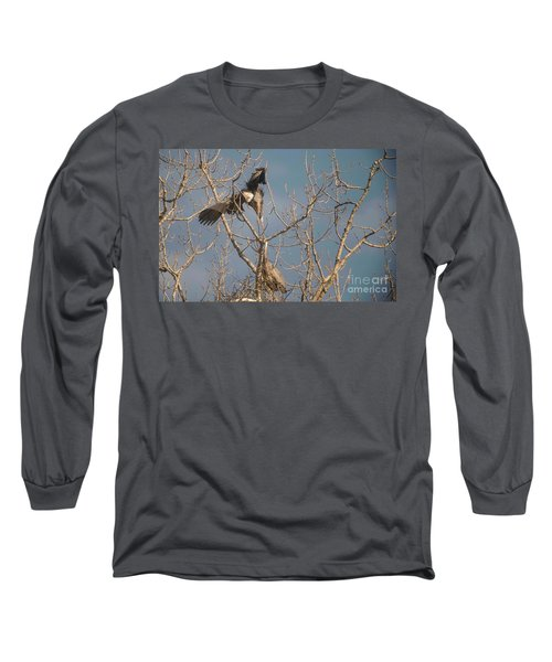Long Sleeve T-Shirt featuring the photograph Courtship Ritual Of The Great Blue Heron by David Bearden