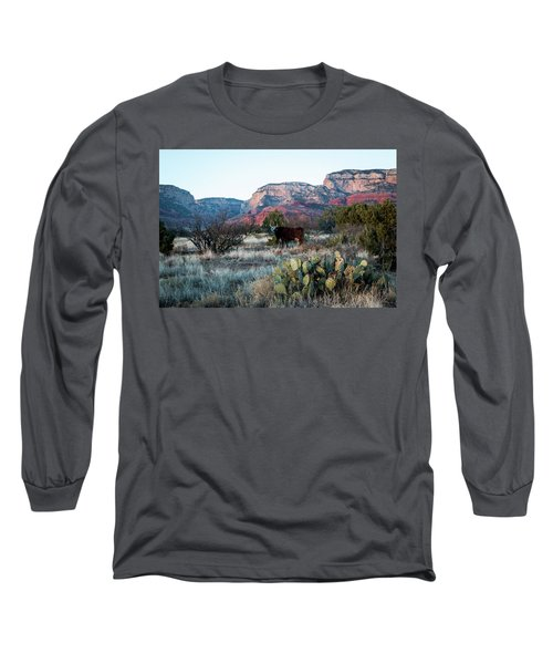 Cow At Red Rock Long Sleeve T-Shirt