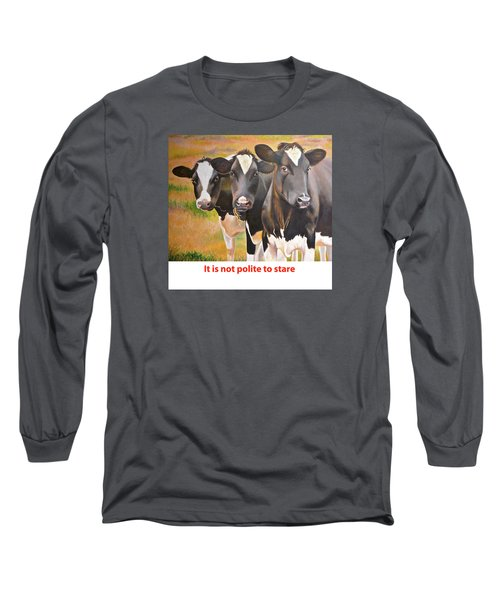 Long Sleeve T-Shirt featuring the painting Cow Holstein Trio by K L Kingston