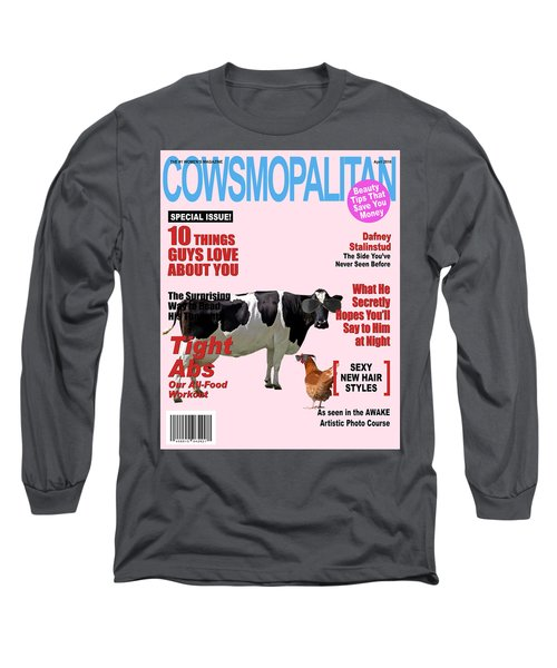 Cow Poster Long Sleeve T-Shirt by James Bethanis
