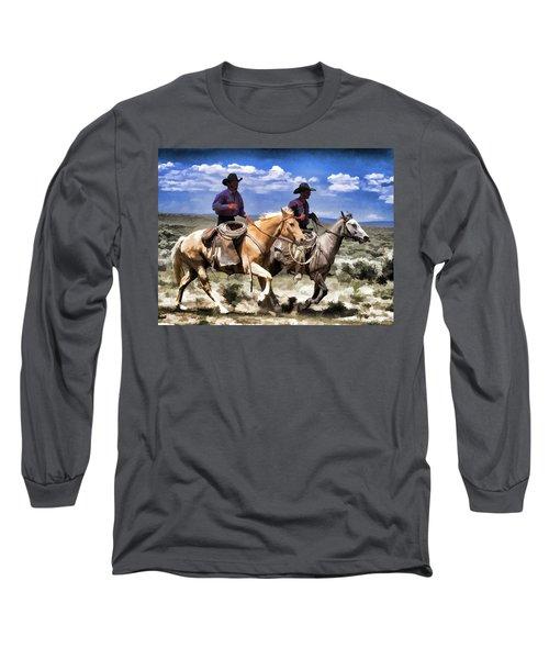 Cowboys On Horseback Riding The Range Long Sleeve T-Shirt
