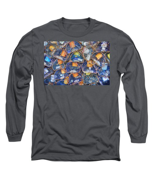 Crab And Lobster Pots On Quayside Long Sleeve T-Shirt
