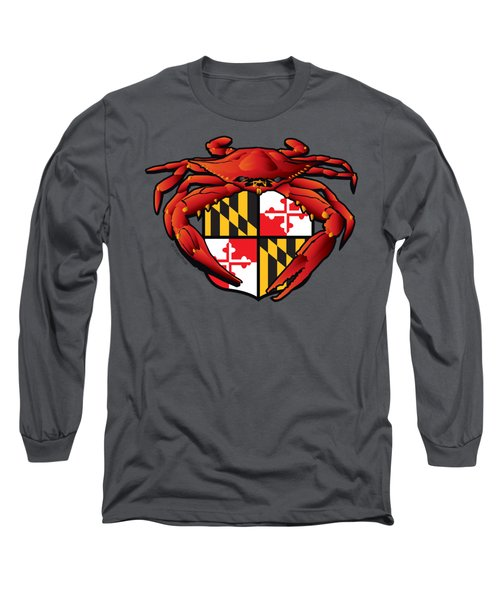 Crab Feast Maryland Flag Crest Long Sleeve T-Shirt