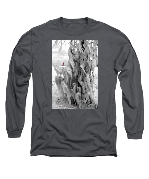 Long Sleeve T-Shirt featuring the photograph Cradled In Ice - Menominee North Pier Lighthouse by Mark J Seefeldt