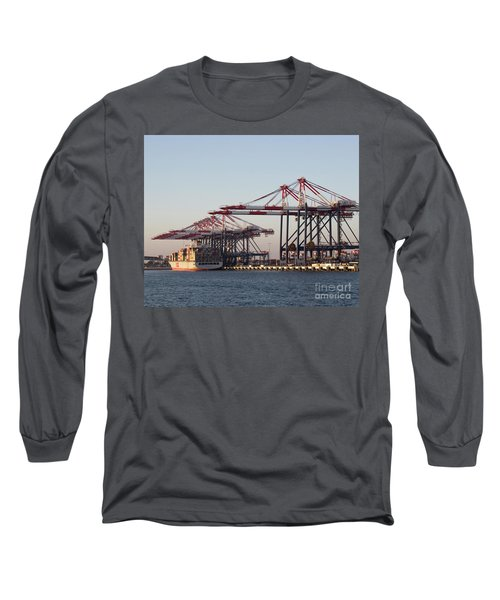 Cranes 2 Long Sleeve T-Shirt by Cheryl Del Toro