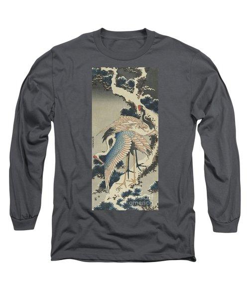 Cranes On Pine Long Sleeve T-Shirt