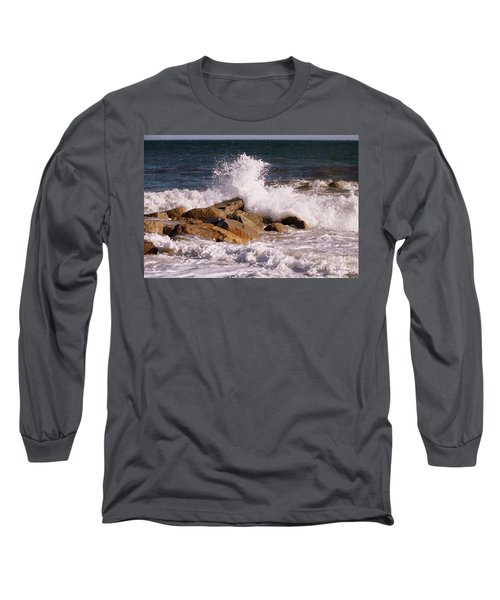 Crashing Surf On Plum Island Long Sleeve T-Shirt by Eunice Miller