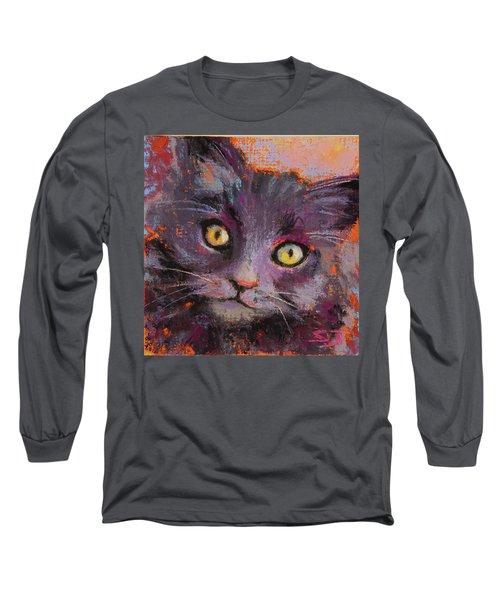 Crazy Cat Black Kitty Long Sleeve T-Shirt
