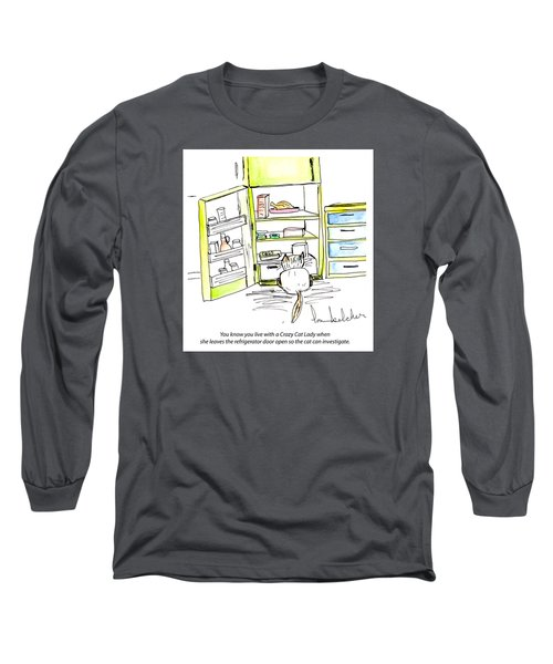 Long Sleeve T-Shirt featuring the painting Crazy Cat Lady 0003 by Lou Belcher