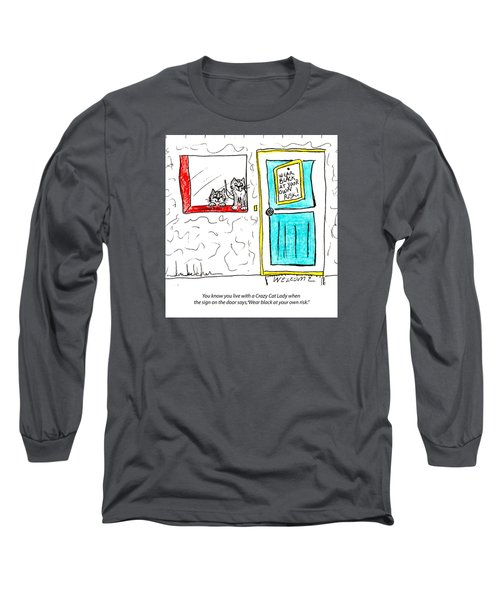 Crazy Cat Lady 0005 Long Sleeve T-Shirt by Lou Belcher