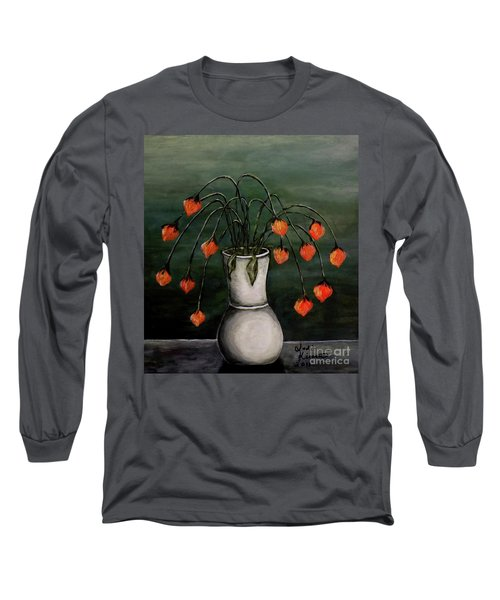 Long Sleeve T-Shirt featuring the painting Crazy Red Flowers by Judy Kirouac