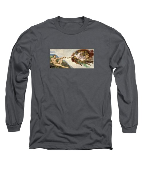 Creation Of Adam - Painted By Michelangelo Long Sleeve T-Shirt