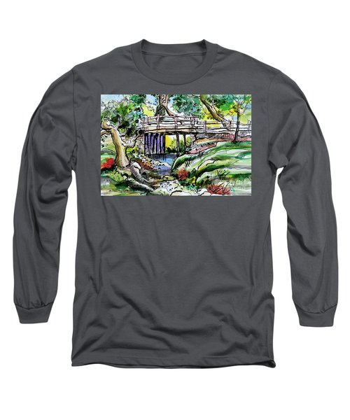Long Sleeve T-Shirt featuring the painting Creek Bed And Bridge by Terry Banderas