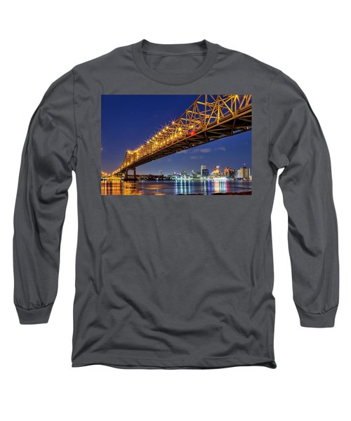 Crescent City Bridge, New Orleans, Version 2 Long Sleeve T-Shirt